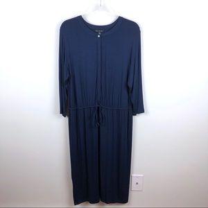 H by Halston Blue Button Up Tie Waist Dress 18W